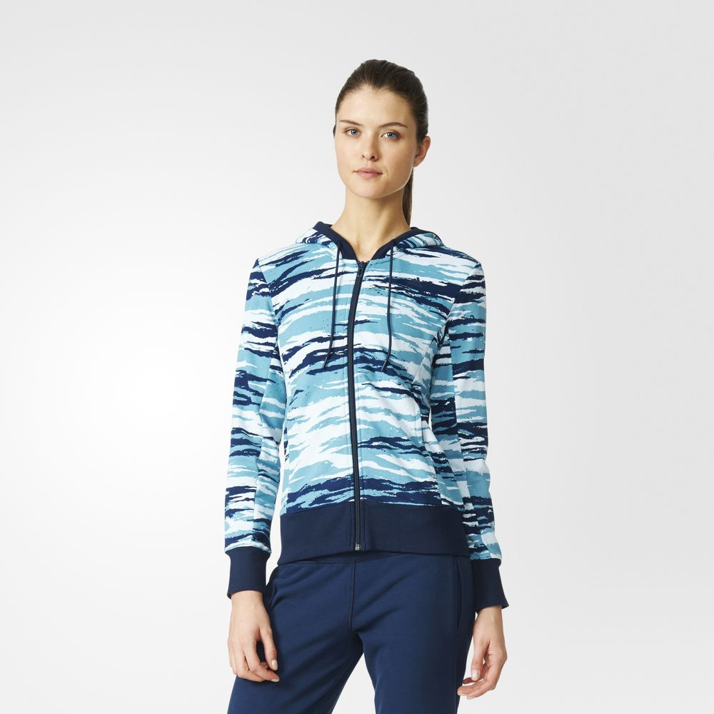 Hanorace Adidas Essentials Allover Print Dama Albastri 21134643LH
