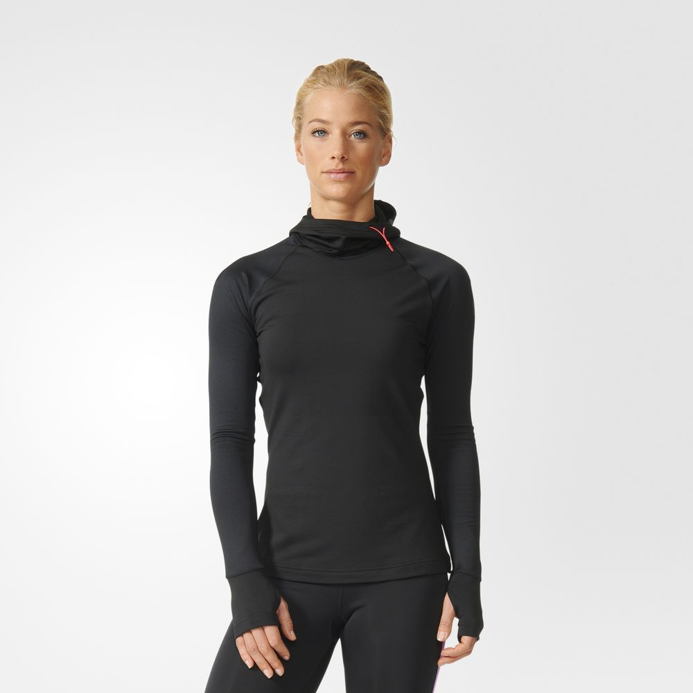 Hanorace Adidas Techfit Climawarm Pulovere Dama Negrii/Albastri 50929565HO