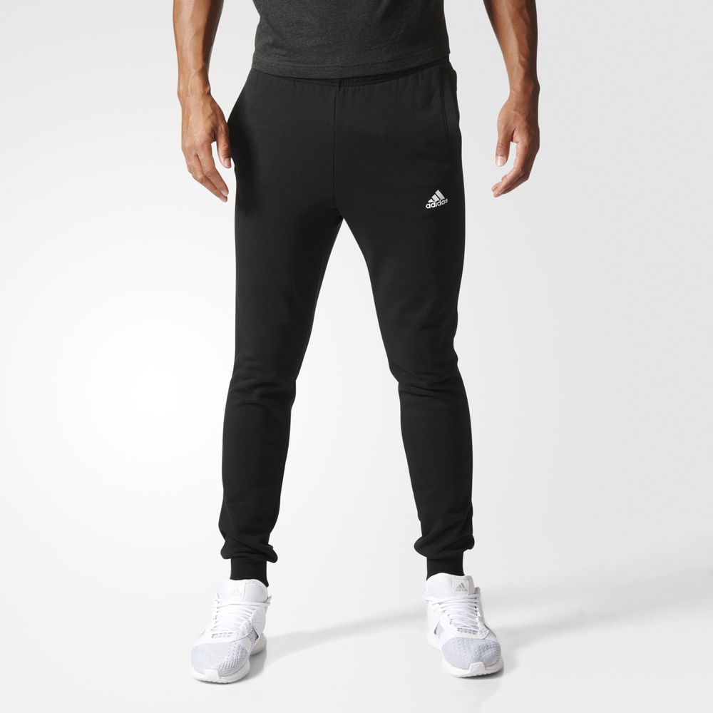 Pantaloni Adidas Essentials French Terry Athletic Barbati Negrii Albi 88980712PS