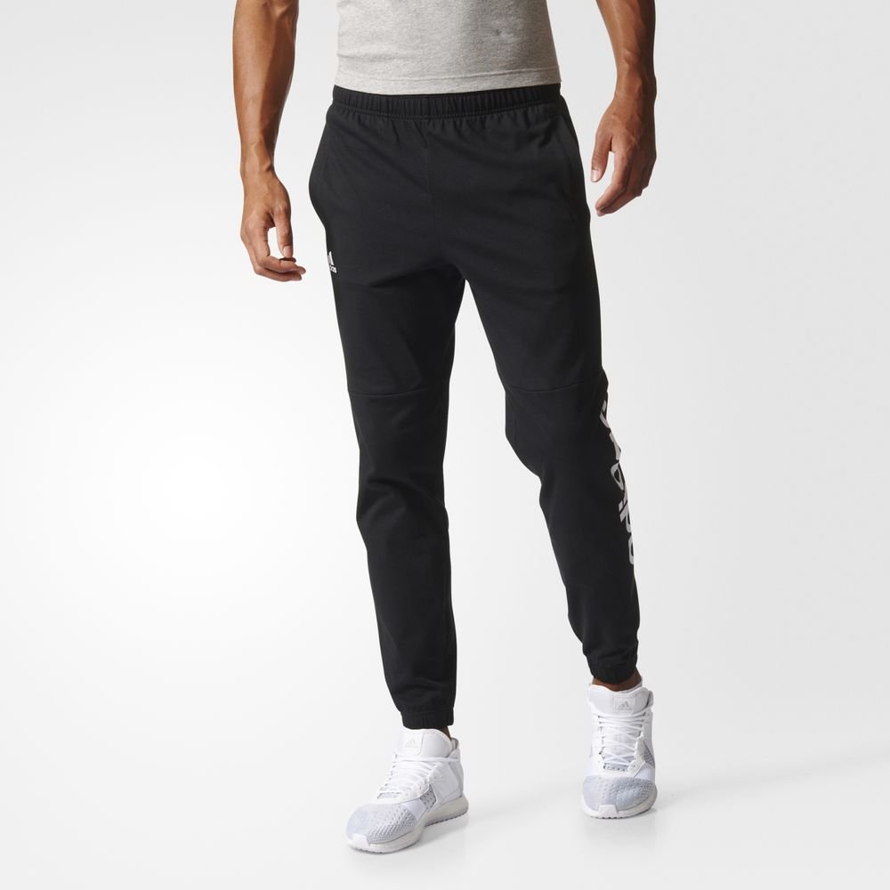 Pantaloni Adidas Essentials Linear Logos Athletic Barbati Negrii Albi 68529663LZ