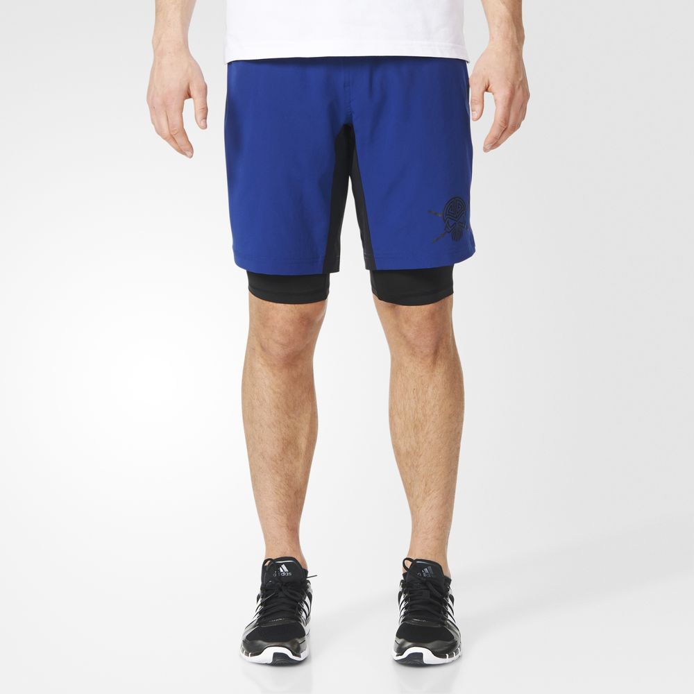 Pantaloni Scurti Adidas A2g Two-in-one Training Barbati Negrii 42915039ZX