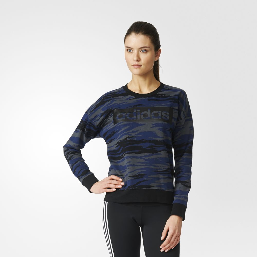 Sweatshirt Adidas Essentials Allover Print Dama Gri 86096801SX
