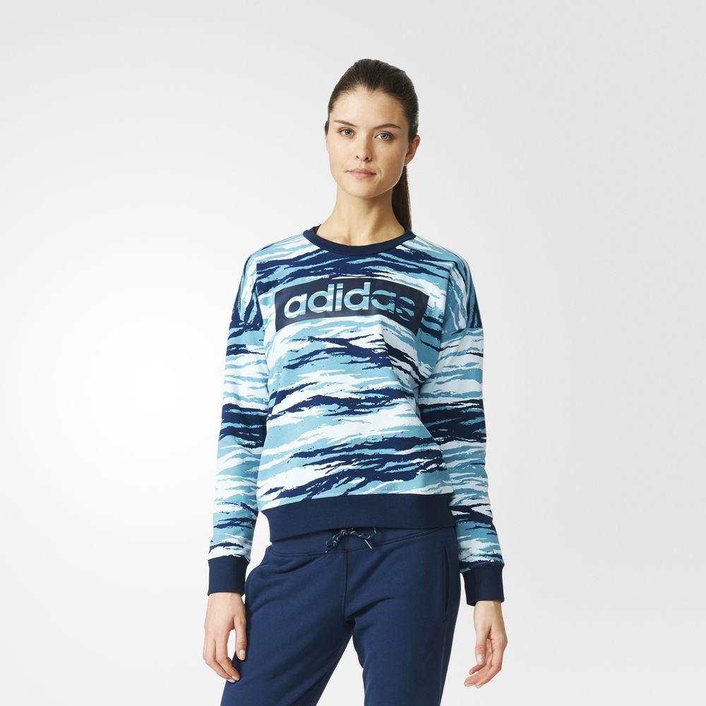 Sweatshirt Adidas Essentials Allover Print Dama Albastri 42228393BD