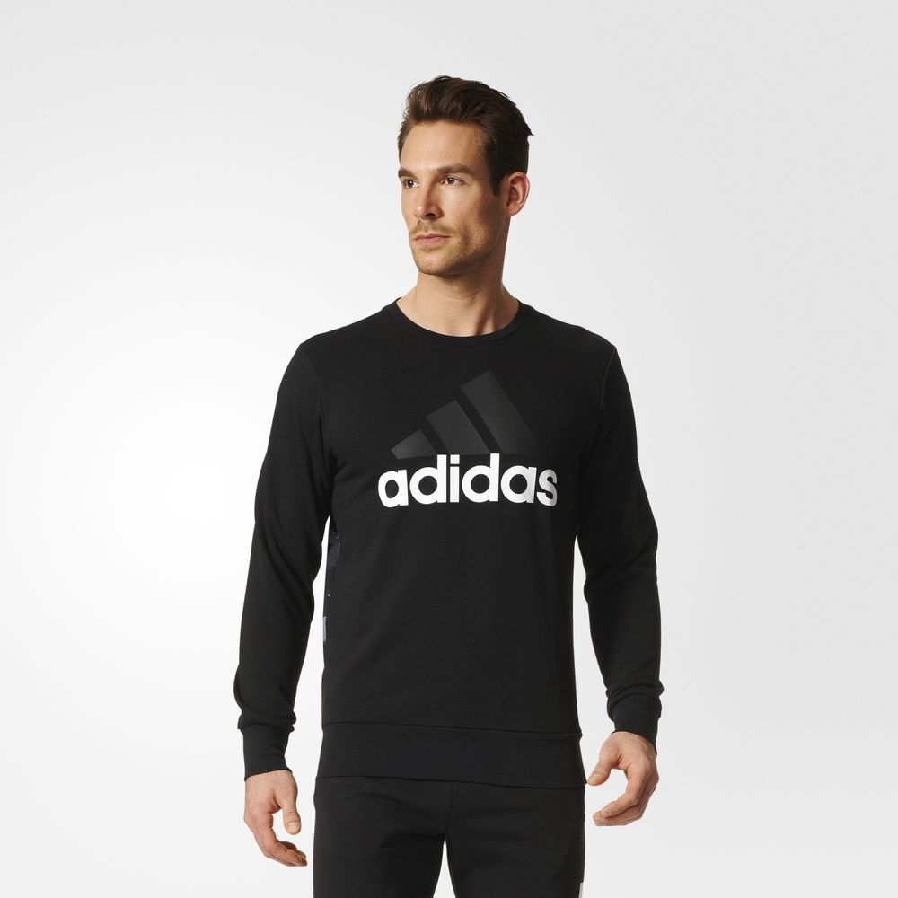 Sweatshirt Adidas Essentials Linear Athletic Barbati Negrii 91754760TS