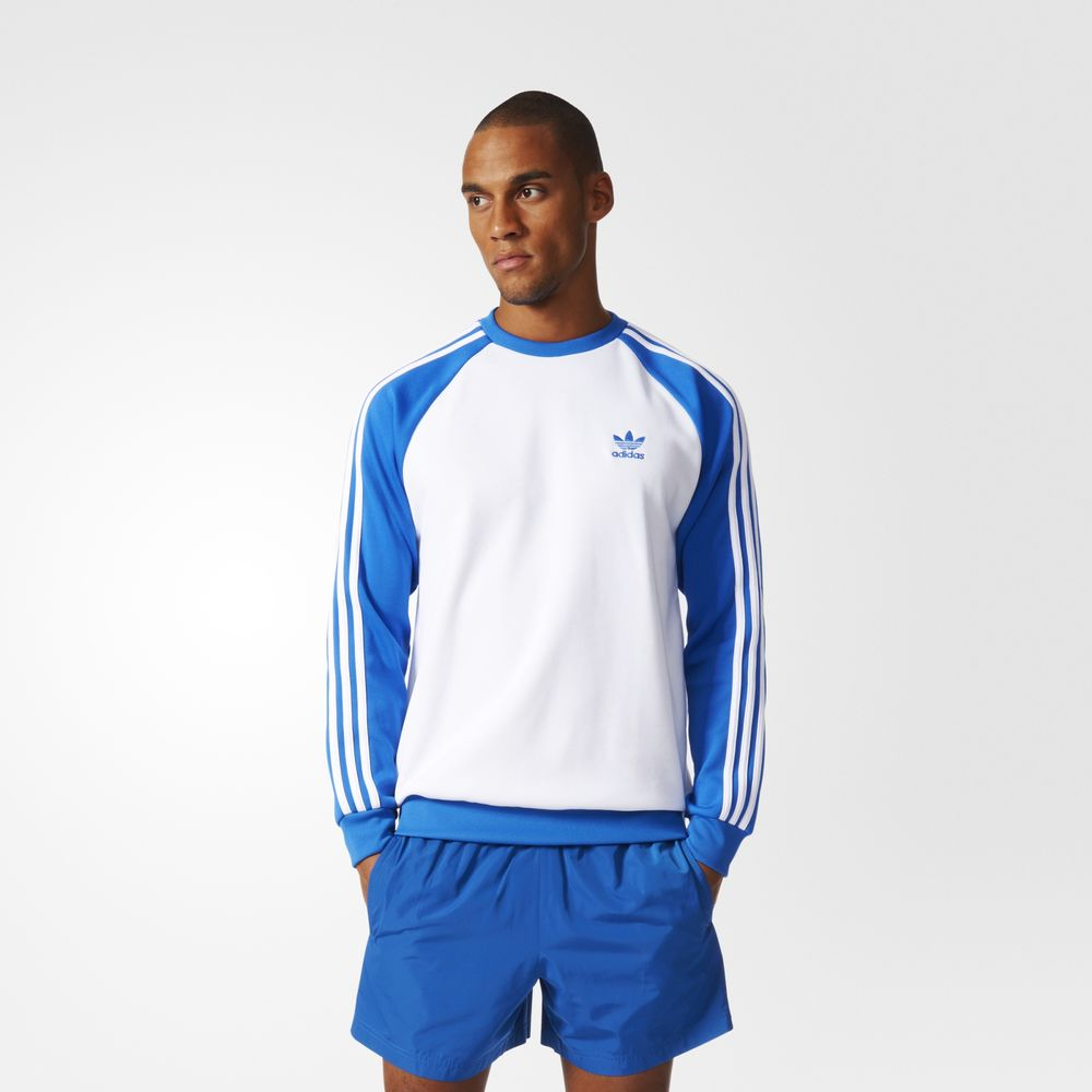 Sweatshirt Adidas Originals Superstar Barbati Albi Albastri 40080566ZY