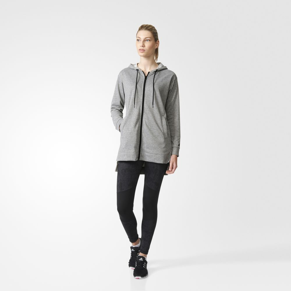 Trening Adidas Hoodie And Hooded Dama Gri Negrii 73479003WH