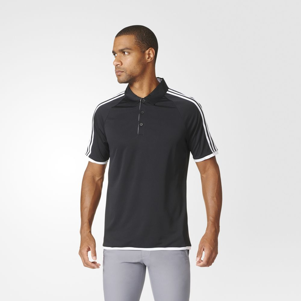 Tricou Polo Adidas Climachill Competition Golf Barbati Negrii Albi 14482421KY
